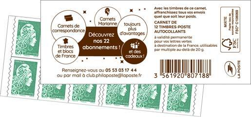 Carnet 12 timbres Marianne l'engagée - Lettre verte - vert - Couverture Abonnements