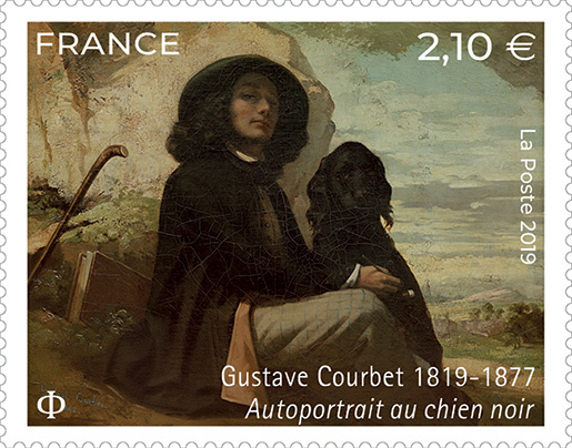 Timbre Gustave Courbet - Autoportrait au chien noir