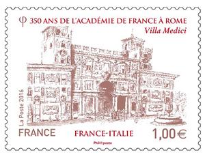 Timbre - 350 ans de l'Académie de France à Rome - France-Italie
