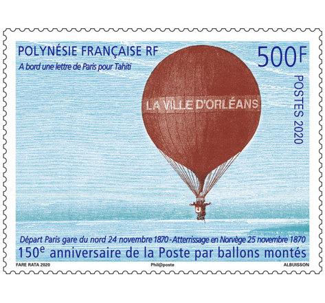 Polynésie Française - 150ème anniversaire de La Poste par ballon monté