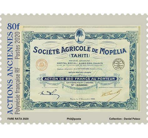 Polynésie Française - Actions Anciennes Société Agricole de Mopelia - 80F