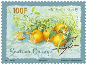 Polynésie Française - Timbre Senteur Orange