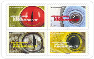 carnet les animaux nous regardent 12 timbres autocollants boutique particuliers la poste. Black Bedroom Furniture Sets. Home Design Ideas