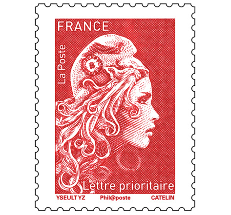 Timbre Marianne l'engagée - Lettre prioritaire - Rouge