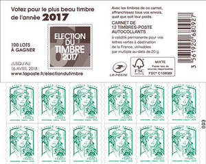 Carnet de 12 timbres Marianne - Vert - Couverture Election du plus beau Timbre de l'année 2017