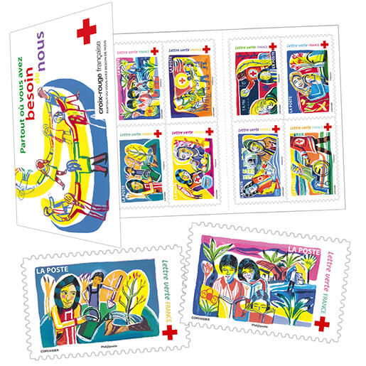 carnet la croix rouge fran aise 8 timbres autocollants boutique particuliers la poste. Black Bedroom Furniture Sets. Home Design Ideas