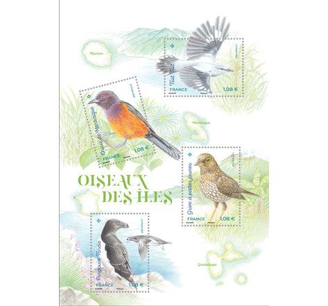 Bloc 4 timbres - Oiseaux des îles - Lettre Verte
