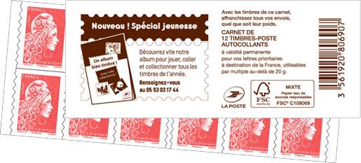 Carnet de 12 timbres Marianne l'engagée - Rouge - Couverture Un album bien timbré