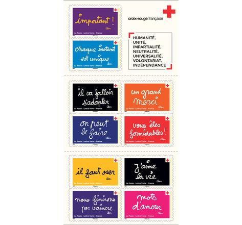 Carnet 10 timbres - La Croix Rouge Française - On peut le faire grâce à vous - Lettre Verte