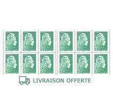 Carnet 12 timbres Marianne l'engagée - Lettre verte