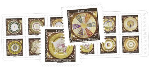 Aux pays des Merveilles - Assiettes - 12 timbres autocollants