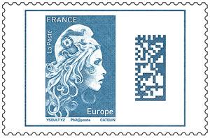 Timbre Marianne l'engagée - Bleu - Europe