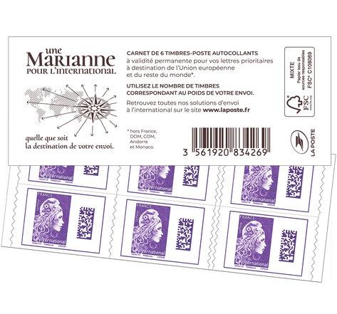 Carnet 6 timbres Marianne l'engagée - International - Violet - Couverture blanche