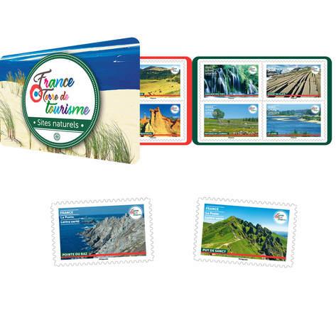 Carnet 12 timbres - France terre de tourisme - Sites naturels - Lettre verte