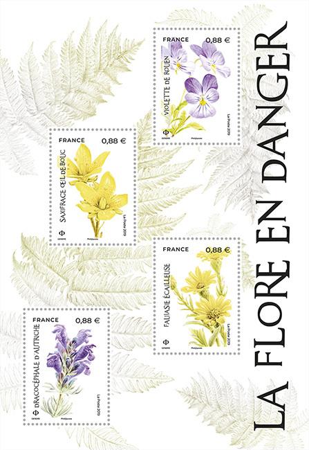Bloc Nature - La Flore en Danger - 4 timbres gommés