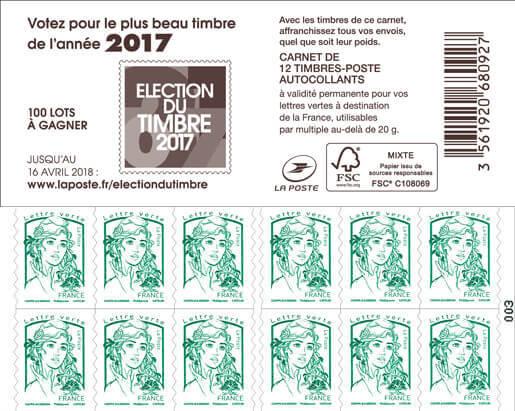 carnet de 12 timbres marianne vert couverture election du plus beau timbre de l 39 ann e 2017. Black Bedroom Furniture Sets. Home Design Ideas