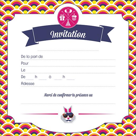 Invitations Anniversaire Enfant (x5) - Le Lapin Hipster   Boutique Particuliers La Poste