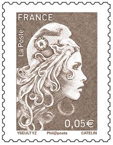 Timbre Marianne l'engagée - Bistre - 0,05€