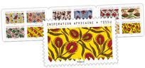 Carnet - Inspiration africaine - Tissu - 12 timbres autocollants