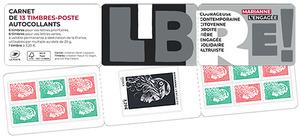 Carnet de 13 timbres Marianne l'engagée - Salon d'Automne - 13 timbres autocollants
