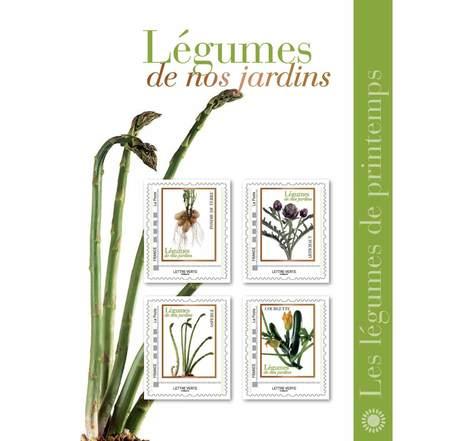 Collector 4 timbres - Les légumes de printemps - Lettre Verte
