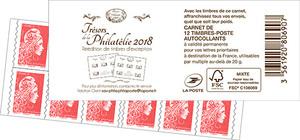 Carnet de 12 timbres Marianne l'engagée - Rouge - Couverture Trésors de la philatélie