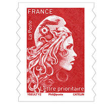 Feuille 100 timbres Marianne l'engagée - Lettre prioritaire - Rouge
