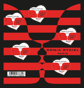 Bloc cœur - Sonia Rykiel - 5 timbres gommés