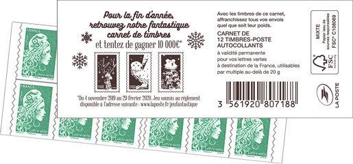 Carnet de 12 timbres Marianne l'engagée - Vert - Carnet Voeux