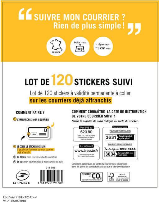 Sticker Suivi Lot De 120 Boutique Particuliers La Poste