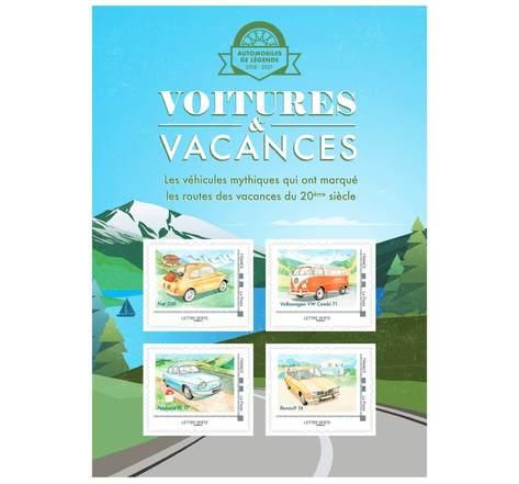 Collector 4 timbres - Voitures et Vacances - Montagne - Lettre Verte