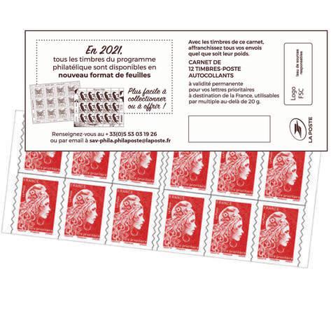 Carnet 12 timbres Marianne l'engagée - Lettre Prioritaire - Couverture nouveau format de feuilles