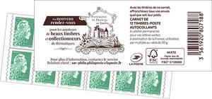 Carnet de 12 timbres Marianne l'engagée - Vert - Patrimoine de France