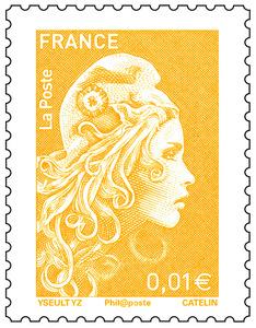 Timbre Marianne l'engagée - Jaune - 0,01€