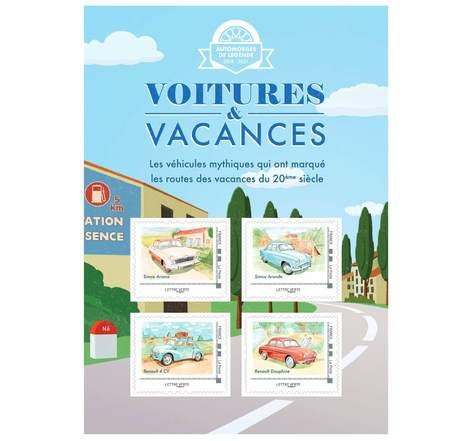 Collector 4 timbres - Voitures et Vacances - Campagne - Lettre Verte