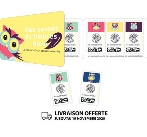 Carnet 9 timbres - Chouette - Lettre suivie