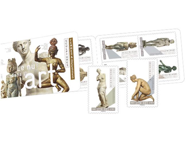 Carnet - Le Nu dans l'art - Sculptures - Femmes & déesses - 12 timbres autocollants