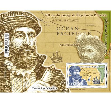 Polynésie Française - Bloc - 500ème anniversaire du passage de Magellan