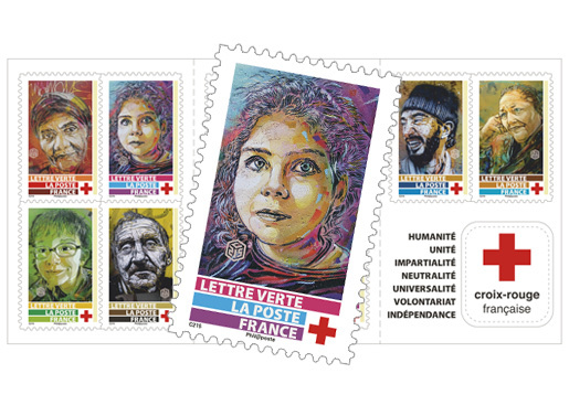Carnet - La Croix Rouge Française - C215 - 10 timbres autocollants