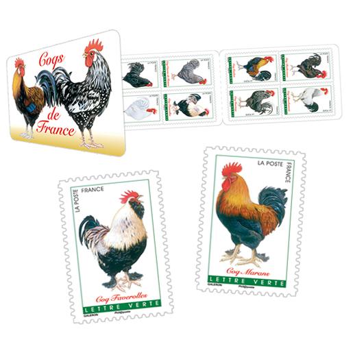 carnet de 12 timbres coqs de france 12 timbres autocollants boutique particuliers la poste. Black Bedroom Furniture Sets. Home Design Ideas