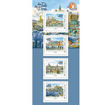 Collector 4 timbres - Toits de Paris - Opéra de Paris - International