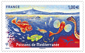 Timbre - Euromed : Poissons de Méditerranée