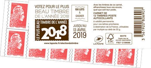 Carnet de 12 timbres Marianne l'engagée - Rouge - Couverture élection du timbre