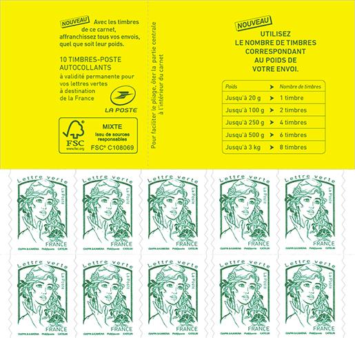 carnet de 10 timbres marianne lettre verte boutique particuliers la poste. Black Bedroom Furniture Sets. Home Design Ideas
