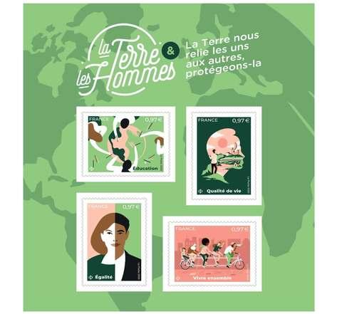 Bloc 4 timbres - La Terre et les Hommes - Lettre Verte