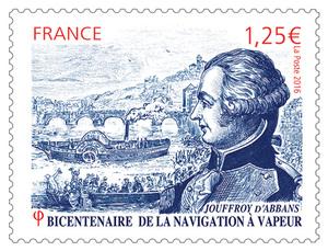 France - Timbre - Jouffroy d'Abbans - Bicentenaire de la navigation à vapeur