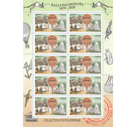 Minifeuille 10 timbres - 150 ans Ballons montés - Lettre prioritaire
