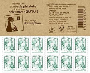 Carnet de 12 timbres Marianne - Vert - Couverture Livre des Timbres