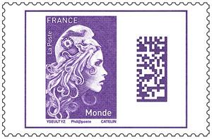 Timbre Marianne l'engagée - Violet - Monde