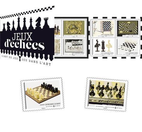 Carnet 12 timbres - Jeux d'échecs - Lettre verte